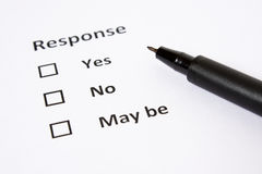 Response sheet with Yes No and May Be as Choice Royalty Free Stock Photo