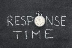 Response time. Phrase handwritten on chalkboard with vintage precise stopwatch used instead of O Royalty Free Stock Photo