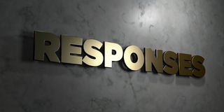 Responses - Gold sign mounted on glossy marble wall  - 3D rendered royalty free stock illustration Stock Photography