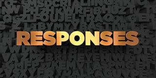Responses - Gold text on black background - 3D rendered royalty free stock picture Royalty Free Stock Photo