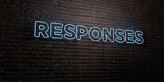 RESPONSES -Realistic Neon Sign on Brick Wall background - 3D rendered royalty free stock image. Can be used for online banner ads and direct mailers Vector Illustration