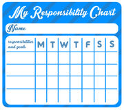 Responsibility chart. Weekly chart with goals and responsibilities Royalty Free Stock Images