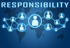 Responsibility. Concept on blue background with world map and social icons Royalty Free Stock Images