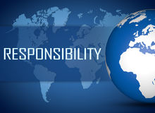 Responsibility. Concept with globe on blue background Stock Image