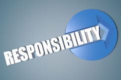 Responsibility. 3d text render illustration concept with a arrow in a circle on blue-grey background Royalty Free Stock Images