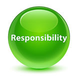 Responsibility glassy green round button Royalty Free Stock Images