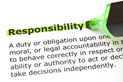 Responsibility highlighted in green. Definition of the word Responsibility highlighted in green with felt tip pen Royalty Free Stock Photography