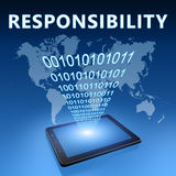 Responsibility. Illustration with tablet computer on blue background Stock Photography