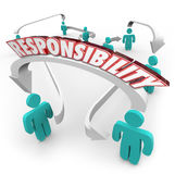 Responsibility Passing Job Task Other People Delegate Work. Responsibility 3d word on arrows connecting people in a workplace or ogranziation as delegation of Royalty Free Stock Images