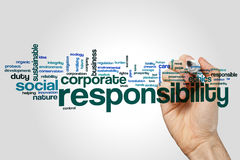 Responsibility word cloud. Concept on grey background Stock Images