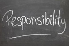 Responsibility word in white chalk handwriting on the blackboard Royalty Free Stock Images