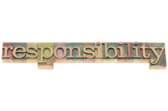Responsibility word in wood type. Responsibility word - isolated word in letterpress wood type Stock Image