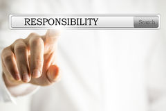 Responsibility. Word Responsibility written in search bar on virtual screen Royalty Free Stock Photo