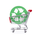 Responsible consumerism. Socially responsible consumerism - buy recycled (environment-friendly) products concept. Shopping cart (shopping trolley) with green stock photos