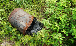 Responsible deposed of toxic waste in green Royalty Free Stock Image