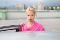 Responsible female driver. Stock Photo