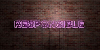 RESPONSIBLE - fluorescent Neon tube Sign on brickwork - Front view - 3D rendered royalty free stock picture. Can be used for online banner ads and direct Royalty Free Stock Image