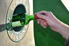 Responsible glass recycling concept Royalty Free Stock Photo