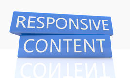 Responsive Content. 3d render blue box with text Responsive Content on it on white background with reflection Royalty Free Stock Photography
