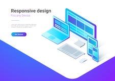 Responsive Design Computer Laptop smartphone isome. Responsive Design on Computer Laptop Tablet PC mobile phone smartphone isometric flat vector illustration vector illustration