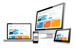 Responsive Design Concept. This image is a vector file representing a responsive design concept on various media devices