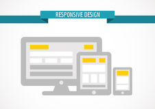 Responsive design concept for web, computer screen, tablet and s Royalty Free Stock Photo
