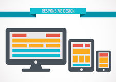 Responsive design concept for web, computer screen, tablet and s Stock Images