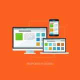 Responsive design flat web infographic technology online service application internet business concept vector. Screen, laptop and mobile phone. Design elements Stock Illustration