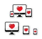 Responsive design icons - monitor, cell/mobile phone, tablet Royalty Free Stock Image