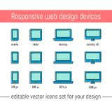 Responsive design icons set vector. Flat responsive design icons in memphis style. Vector responsive design icons set stock illustration