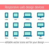 Responsive design icons set vector. Flat responsive design icons in memphis style. Vector responsive design icons set