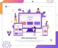 Responsive design landing page. Developers are testing an adaptive website. Landing page template. Responsive design. Web development concept. Flat vector stock illustration
