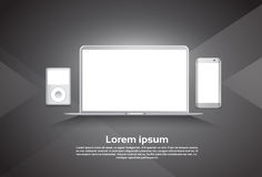 Responsive Design Laptop Computer Cell Smart Phone MP3 Player Device Royalty Free Stock Photos