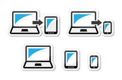 Responsive design - laptop, tablet, smarthone  icons blue and black Royalty Free Stock Photo