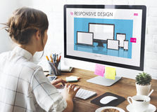 Responsive Design Layout Software Concept. Woman Graphic responsive Design Concept Royalty Free Stock Image