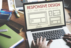 Responsive Design Layout Webpage Template Concept Stock Images