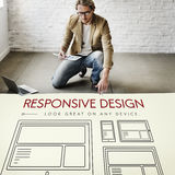 Responsive Design Layout Webpage Template Concept. Businessman Sitting on Floor Responsive Design Layout Webpage Template Royalty Free Stock Image
