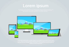 Responsive Design Photo Page Laptop Phone Tablet Stock Photos