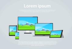 Responsive Design Photo Page Laptop Phone Tablet. Desktop Device Screen Size Flat Vector Illustration Stock Photos