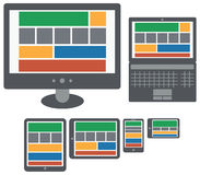 Responsive design web application on screen of personal computer Royalty Free Stock Photos