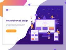 Responsive design web banner. Developers create responsive web design for different devices. Web banner template. Website development. Business concept. Flat stock illustration