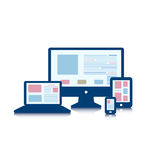 Responsive design for web- computer screen, smartphone, informat Royalty Free Stock Photo