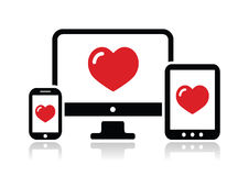 Responsive design for web - computer screen, smartphone, tablet icon Royalty Free Stock Images