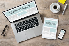 Responsive design and web devices Royalty Free Stock Photos