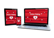 Responsive design website online dating concept Royalty Free Stock Photo