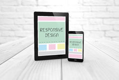 Responsive design wireframe on a laptop display and smartphone. Responsive design wireframe on a digital generated tablet display  and smartphone. All screen Stock Photos