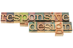 Responsive design in wood type Stock Photos