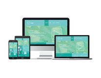 Responsive devices website template Stock Image