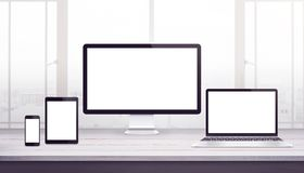 Responsive display devices mockup. Work desk, web design studio royalty free illustration