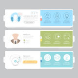 Responsive flat navigation banners with icons for templates Royalty Free Stock Photography